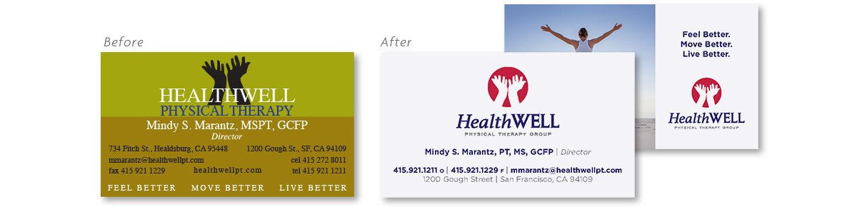 HealthWell Physical Therapy Business Card Design