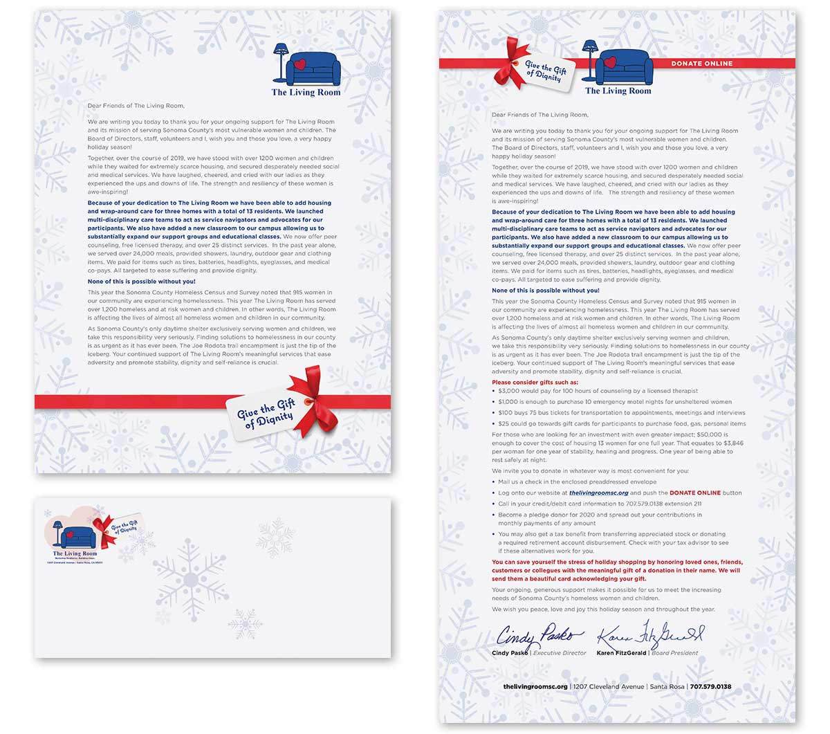 The Living Rooms Holiday Season Gift Appeal Letter and Envelop